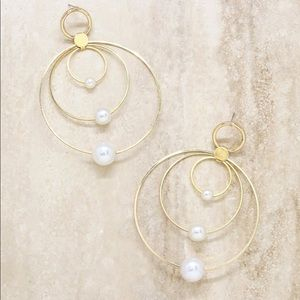 Pearl & Multi Hoop 18k Gold Plated Earrings